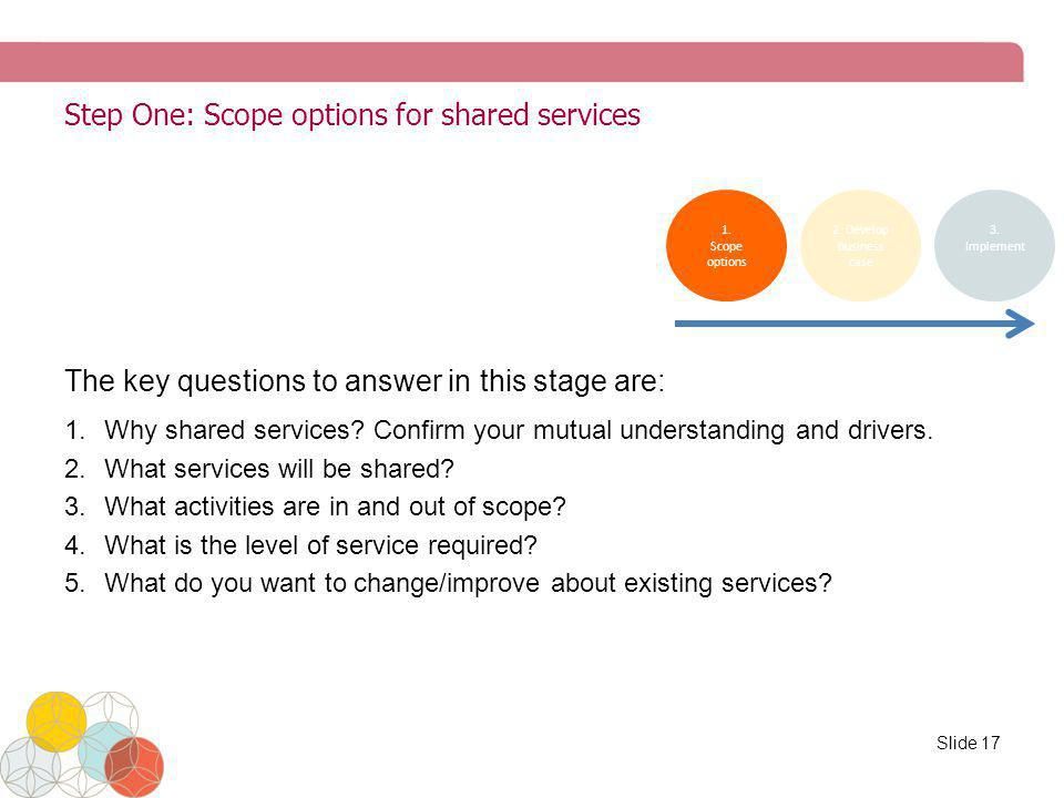 Step One: Scope options for shared services