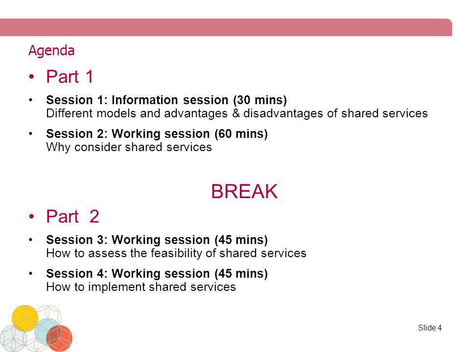 Agenda Part 1. Session 1: Information session (30 mins) Different models and advantages & disadvantages of shared services.