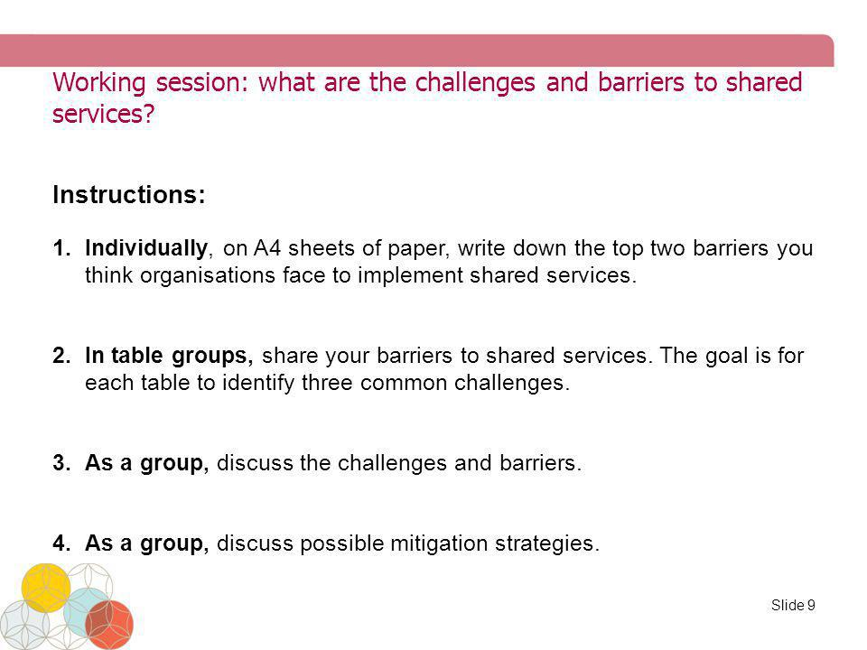 Working session: what are the challenges and barriers to shared services