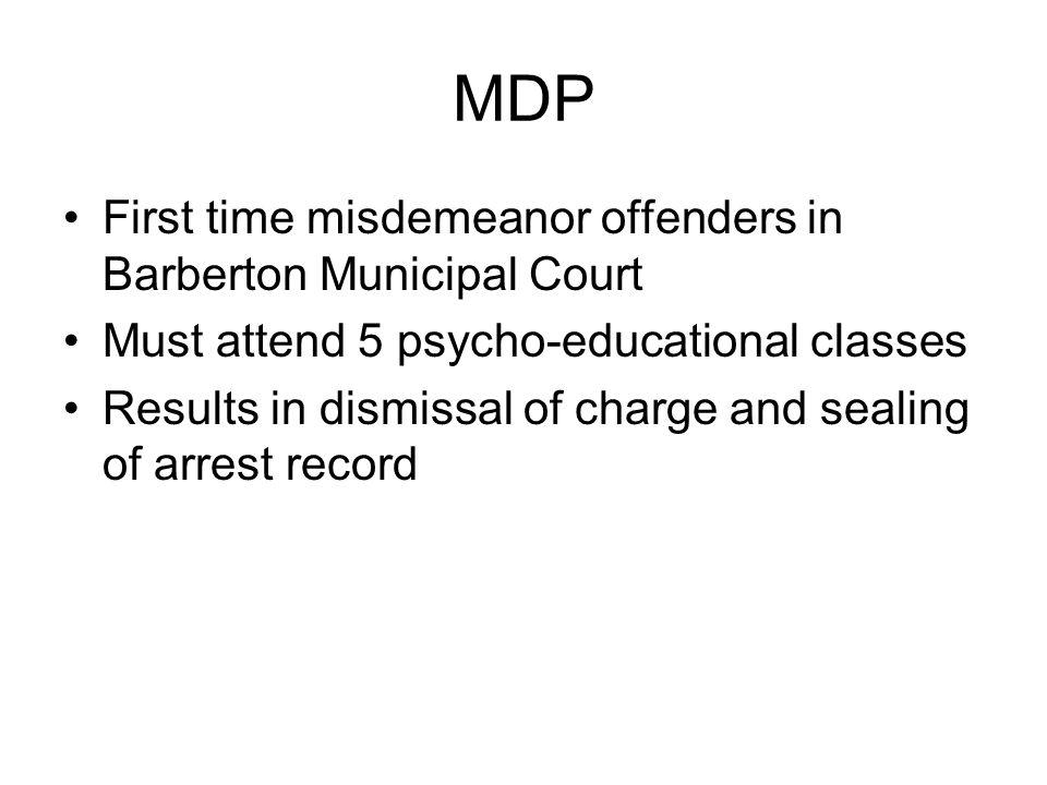 MDP First time misdemeanor offenders in Barberton Municipal Court
