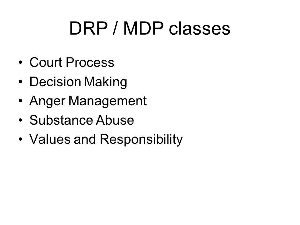 DRP / MDP classes Court Process Decision Making Anger Management