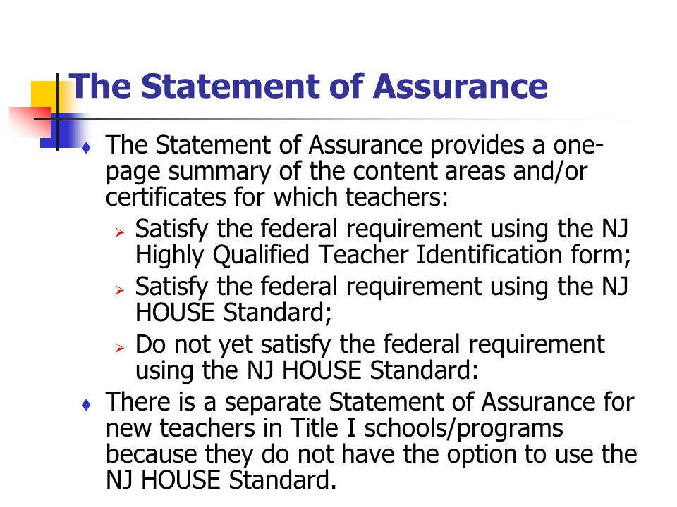 The Statement of Assurance