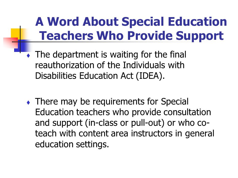 A Word About Special Education Teachers Who Provide Support