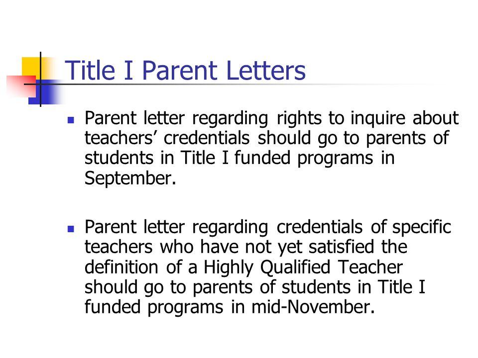 Title I Parent Letters