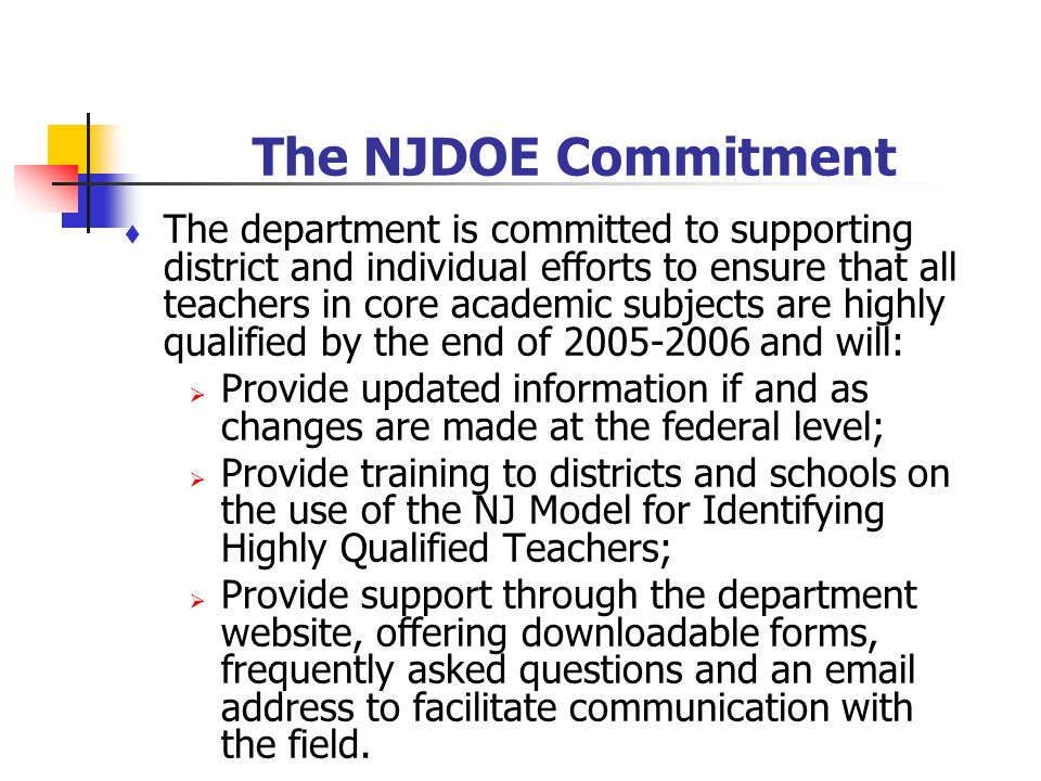The NJDOE Commitment