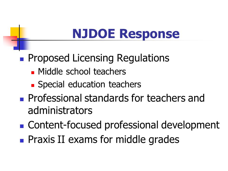 NJDOE Response Proposed Licensing Regulations
