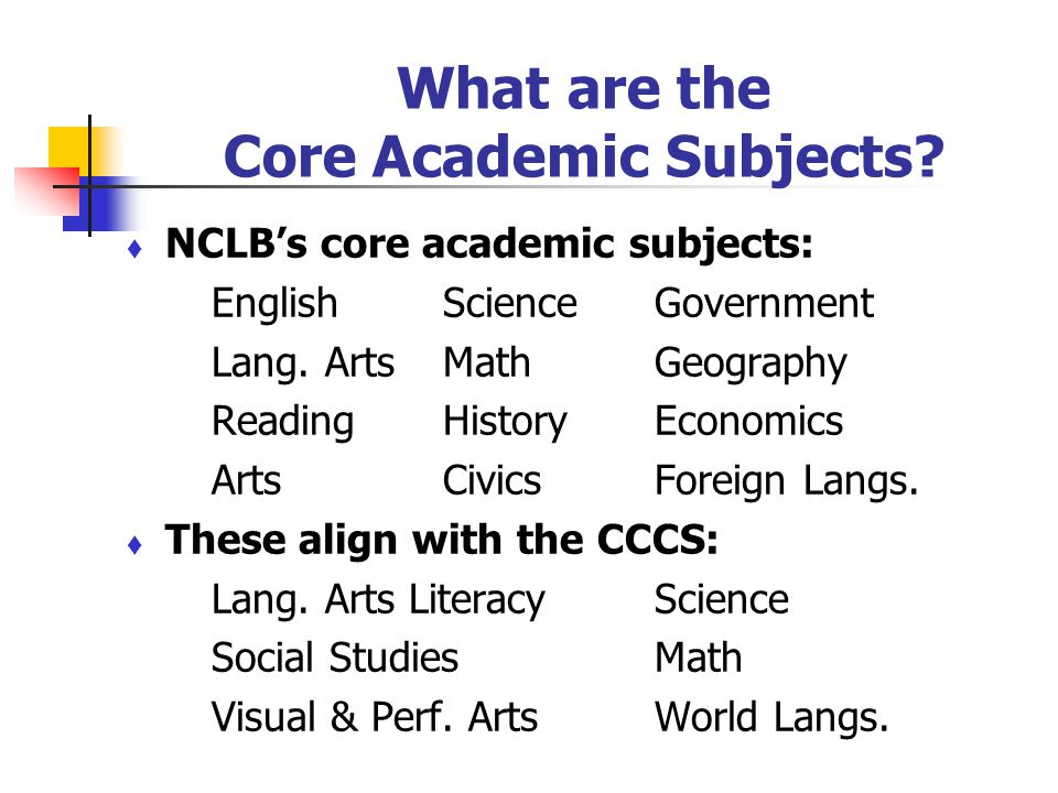 What are the Core Academic Subjects