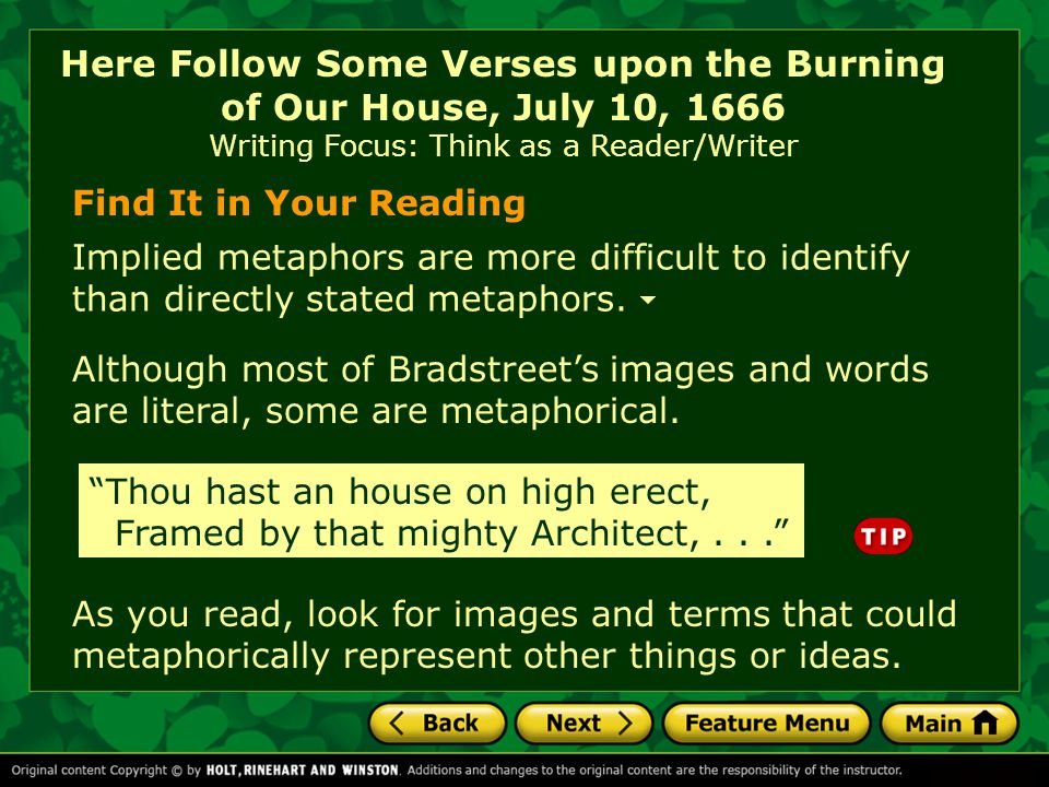 Here Follow Some Verses upon the Burning of Our House, July 10, 1666 Writing Focus: Think as a Reader/Writer
