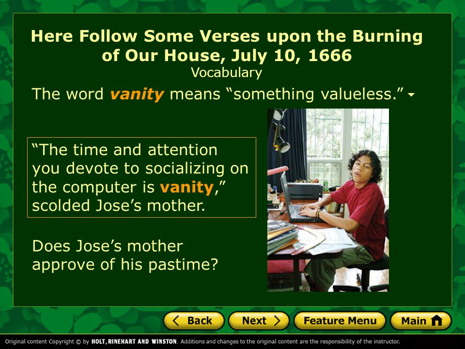 Here Follow Some Verses upon the Burning of Our House, July 10, 1666 Vocabulary