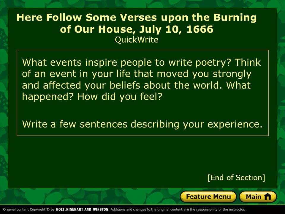 Here Follow Some Verses upon the Burning of Our House, July 10, 1666 QuickWrite