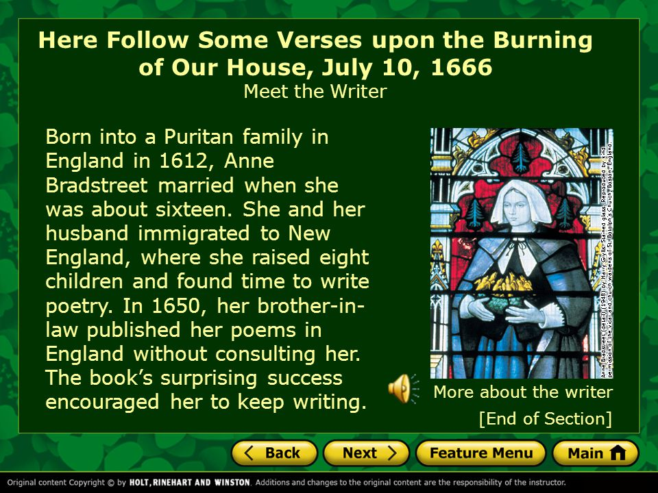 Here Follow Some Verses upon the Burning of Our House, July 10, 1666 Meet the Writer