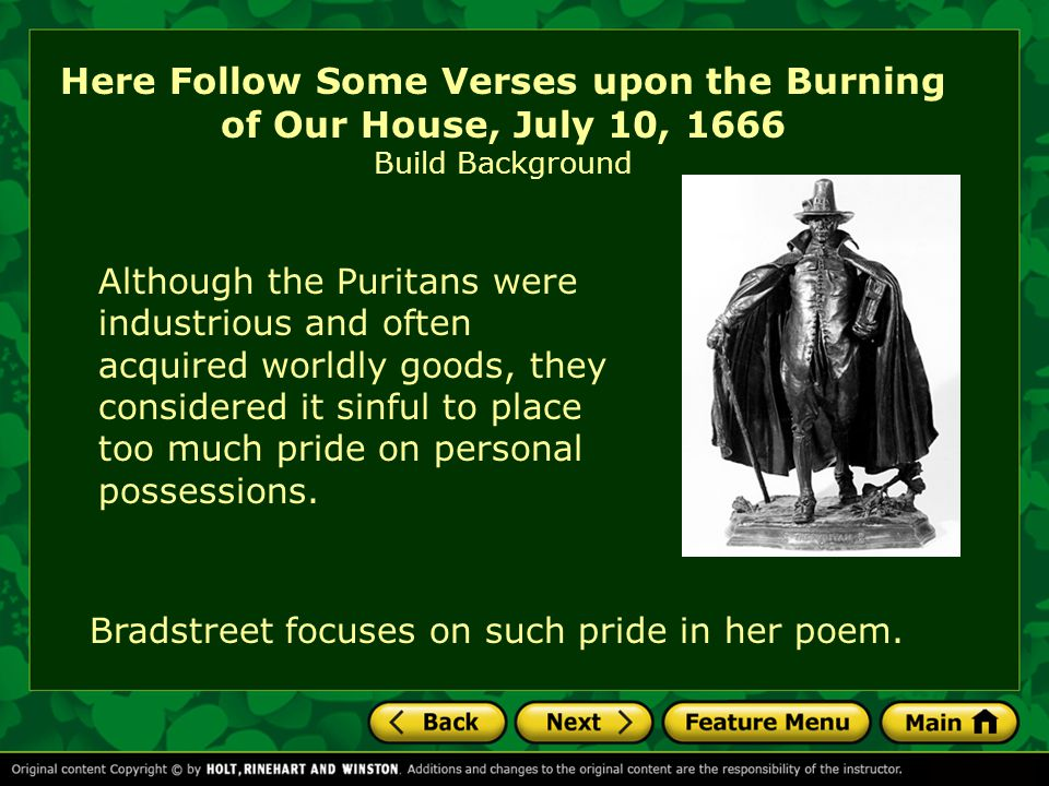 Here Follow Some Verses upon the Burning of Our House, July 10, 1666 Build Background