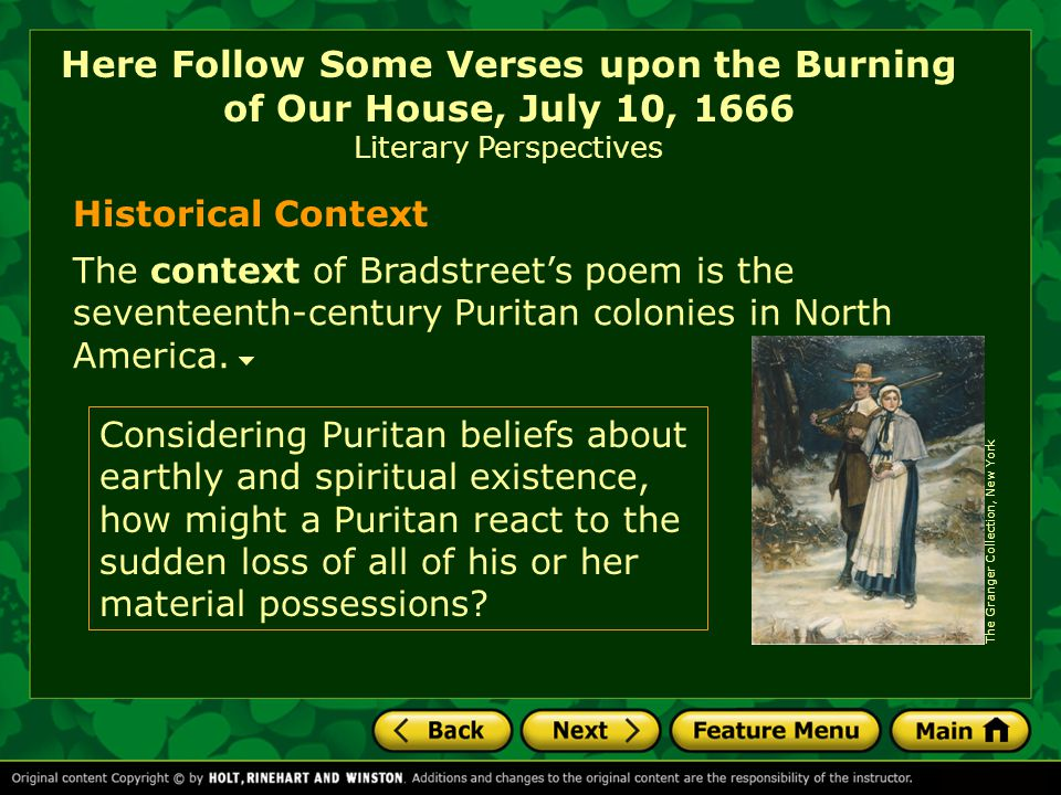 Here Follow Some Verses upon the Burning of Our House, July 10, 1666 Literary Perspectives