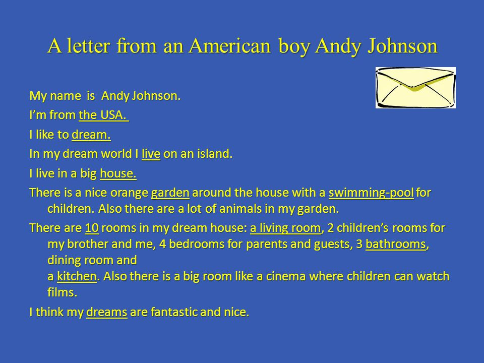 A letter from an American boy Andy Johnson