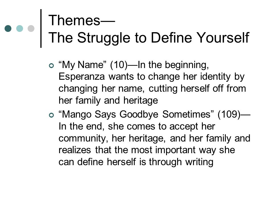 Themes— The Struggle to Define Yourself