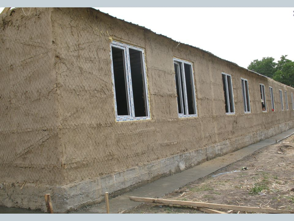 The walls are then plastered inside and out using a mixture of clay and reed.
