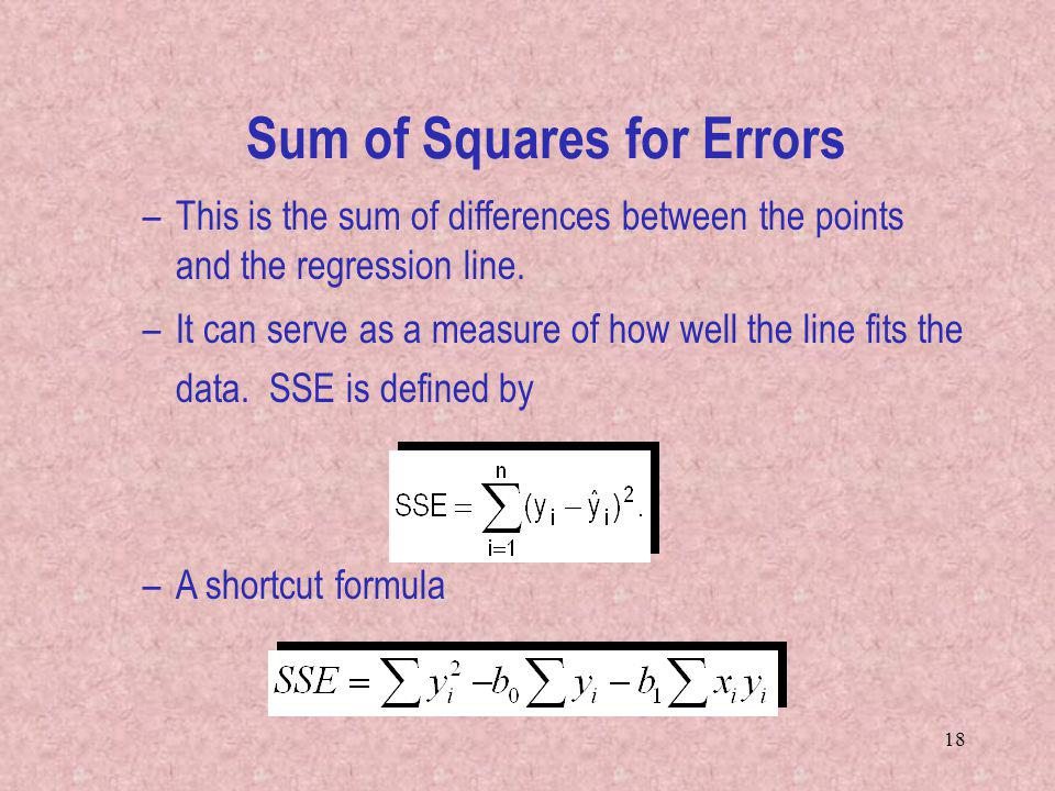 Sum of Squares for Errors