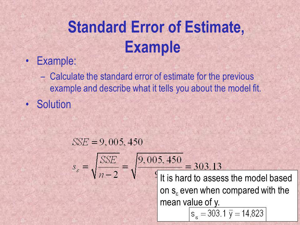 Standard Error of Estimate, Example