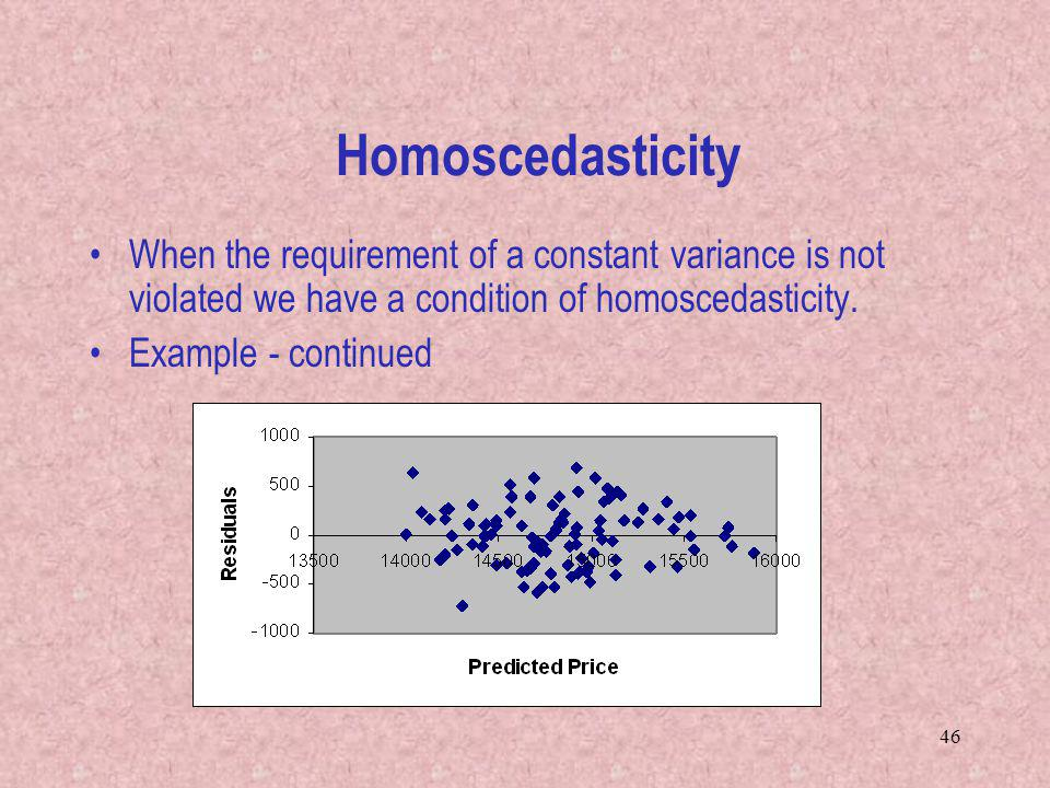 Homoscedasticity When the requirement of a constant variance is not violated we have a condition of homoscedasticity.