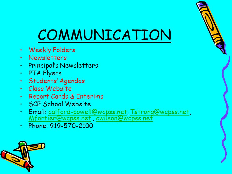 COMMUNICATION Weekly Folders Newsletters Principal's Newsletters
