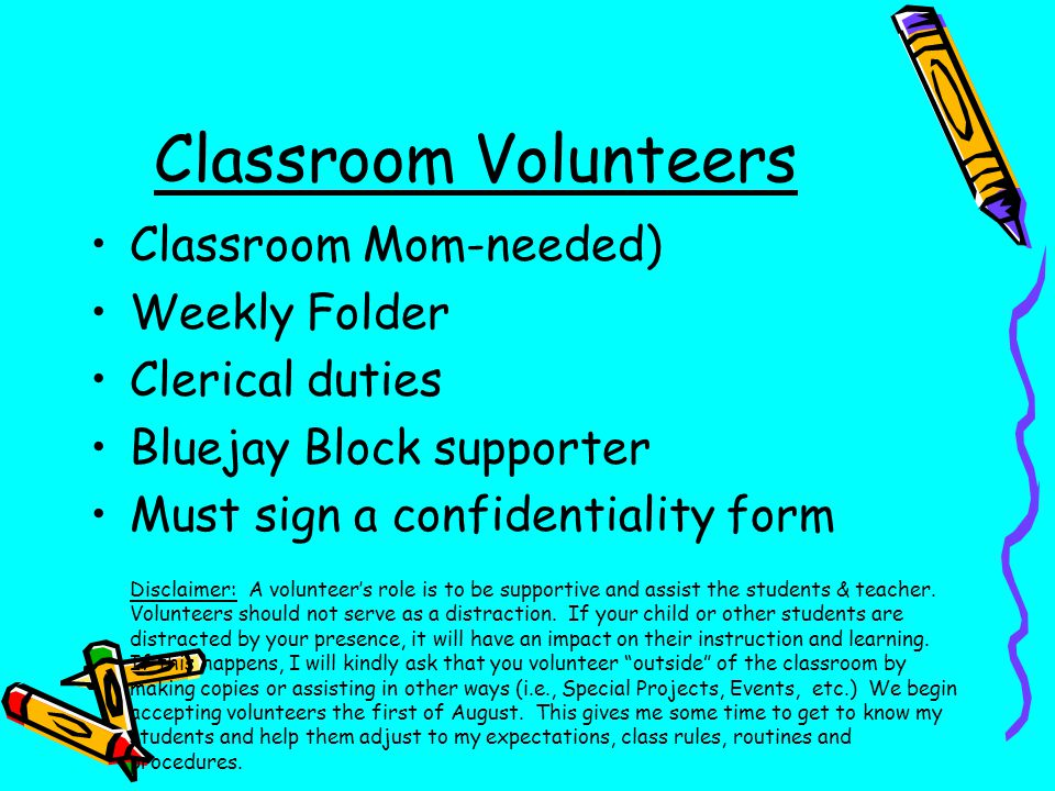 Classroom Volunteers Classroom Mom-needed) Weekly Folder