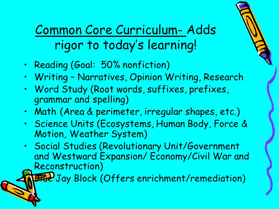 Common Core Curriculum- Adds rigor to today's learning!