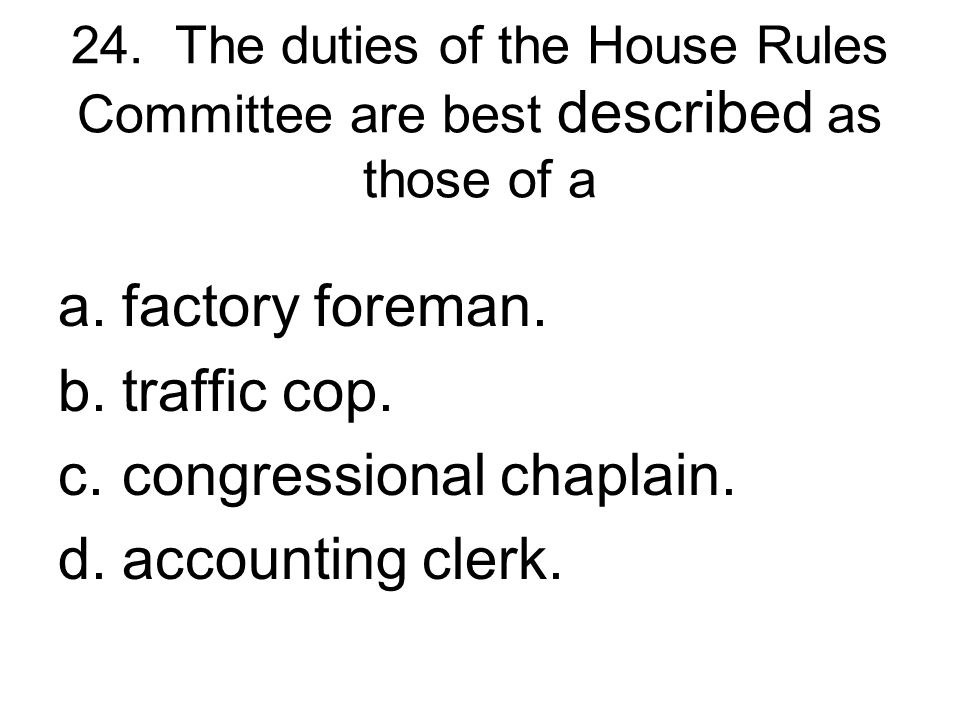 congressional chaplain. accounting clerk.