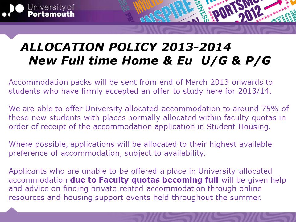 ALLOCATION POLICY 2013-2014 New Full time Home & Eu U/G & P/G