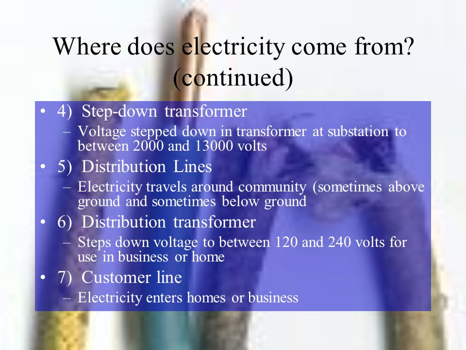 Where does electricity come from (continued)