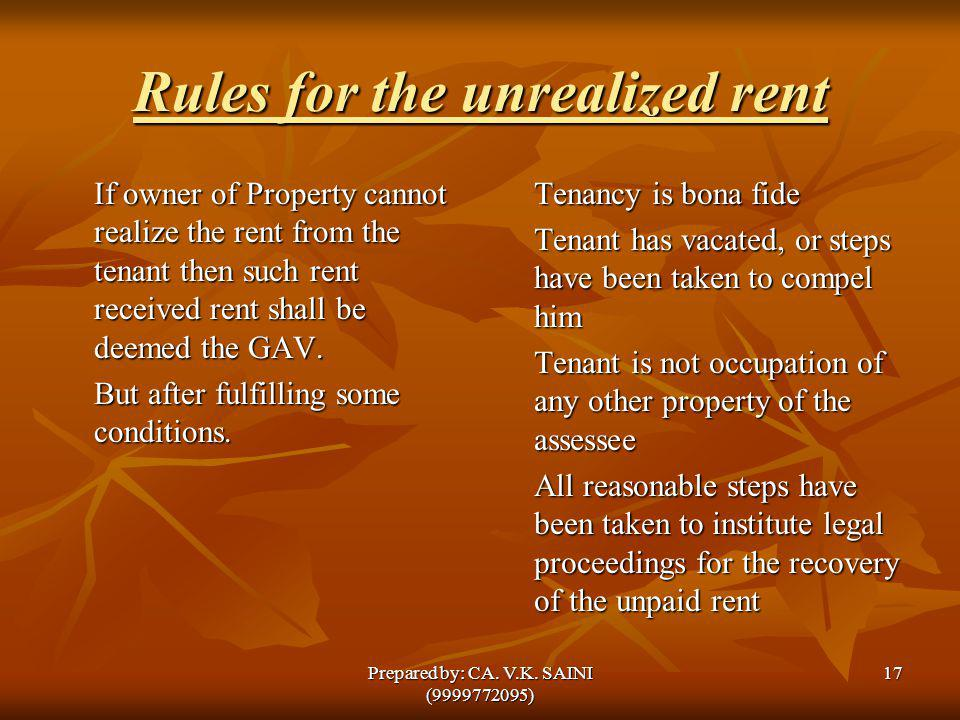 Rules for the unrealized rent