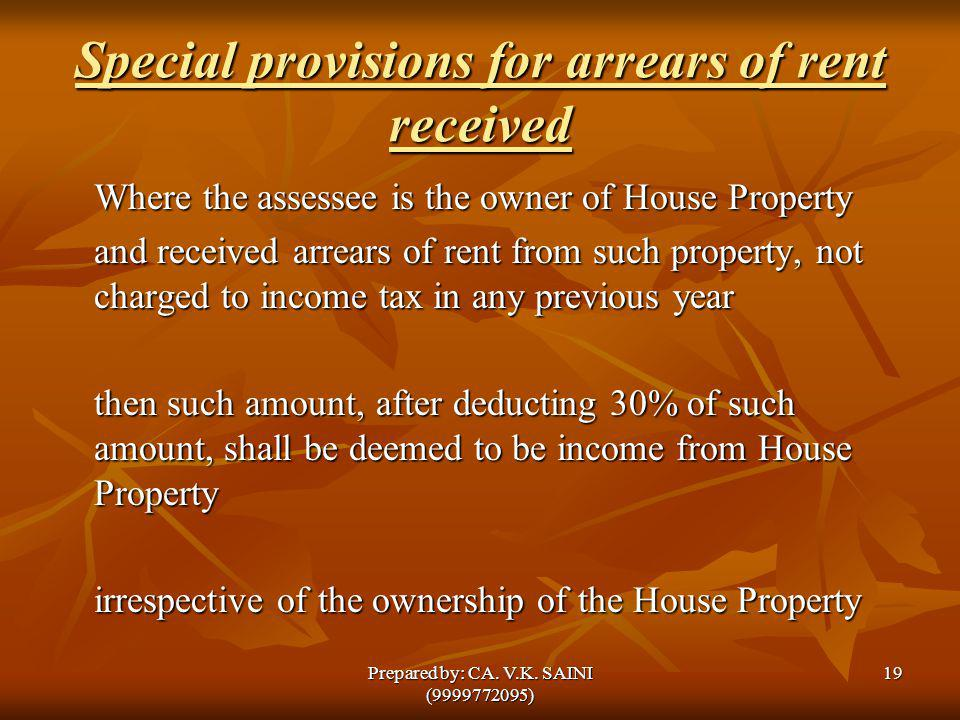 Special provisions for arrears of rent received
