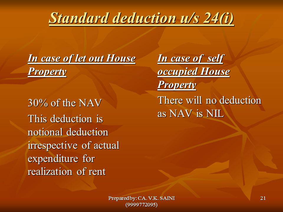 Standard deduction u/s 24(i)