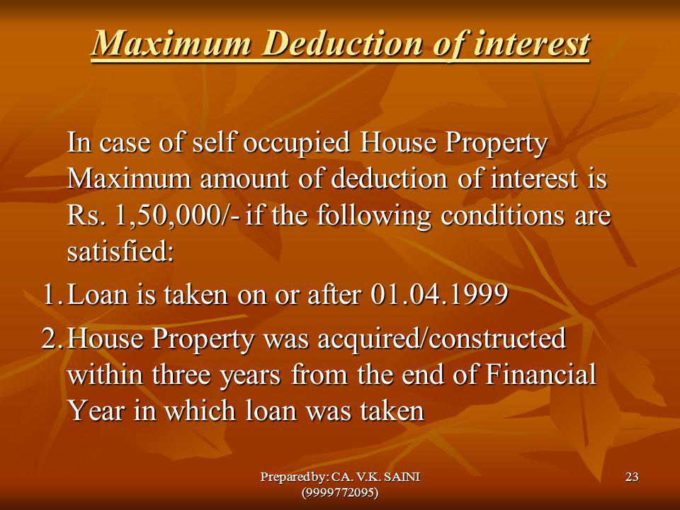 Maximum Deduction of interest