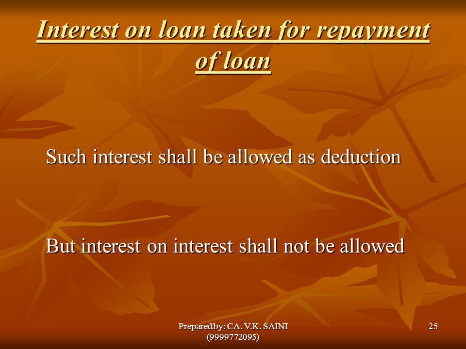 Interest on loan taken for repayment of loan