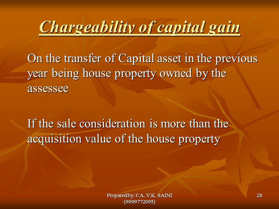 Chargeability of capital gain