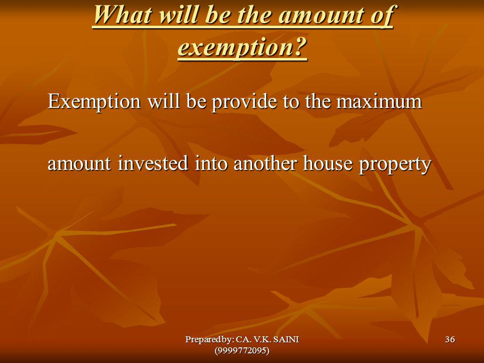 What will be the amount of exemption