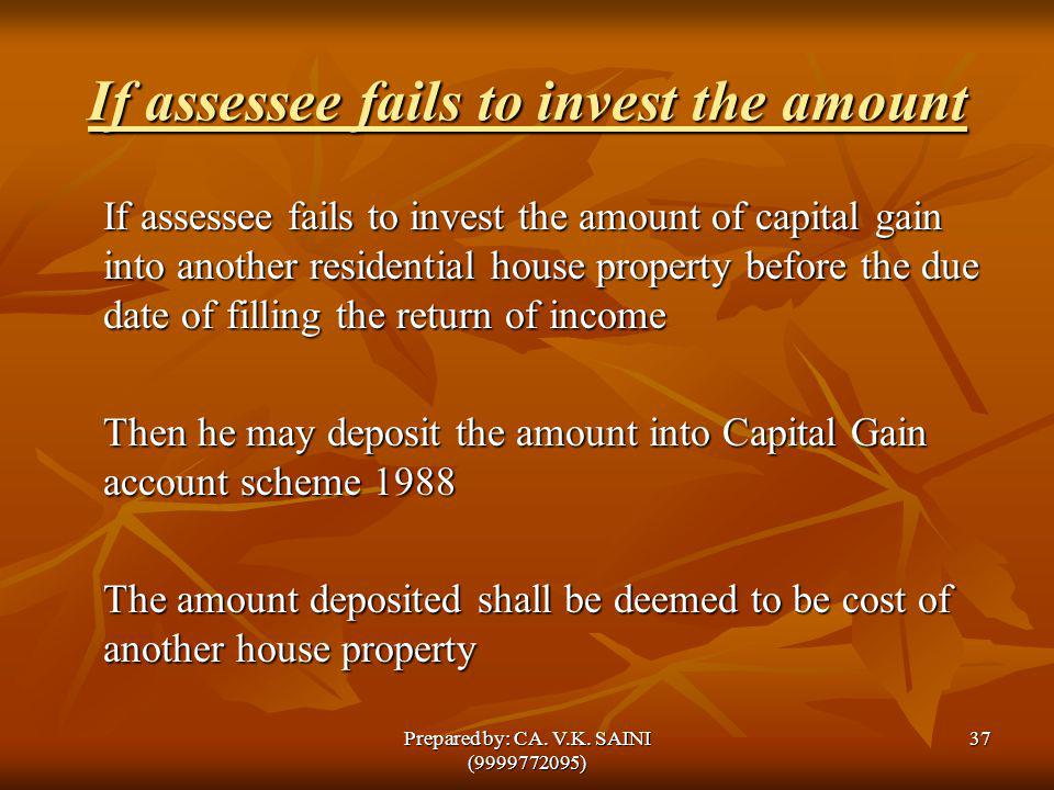 If assessee fails to invest the amount