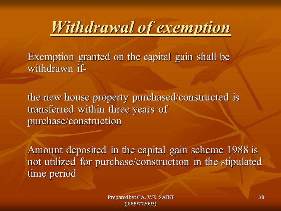 Withdrawal of exemption