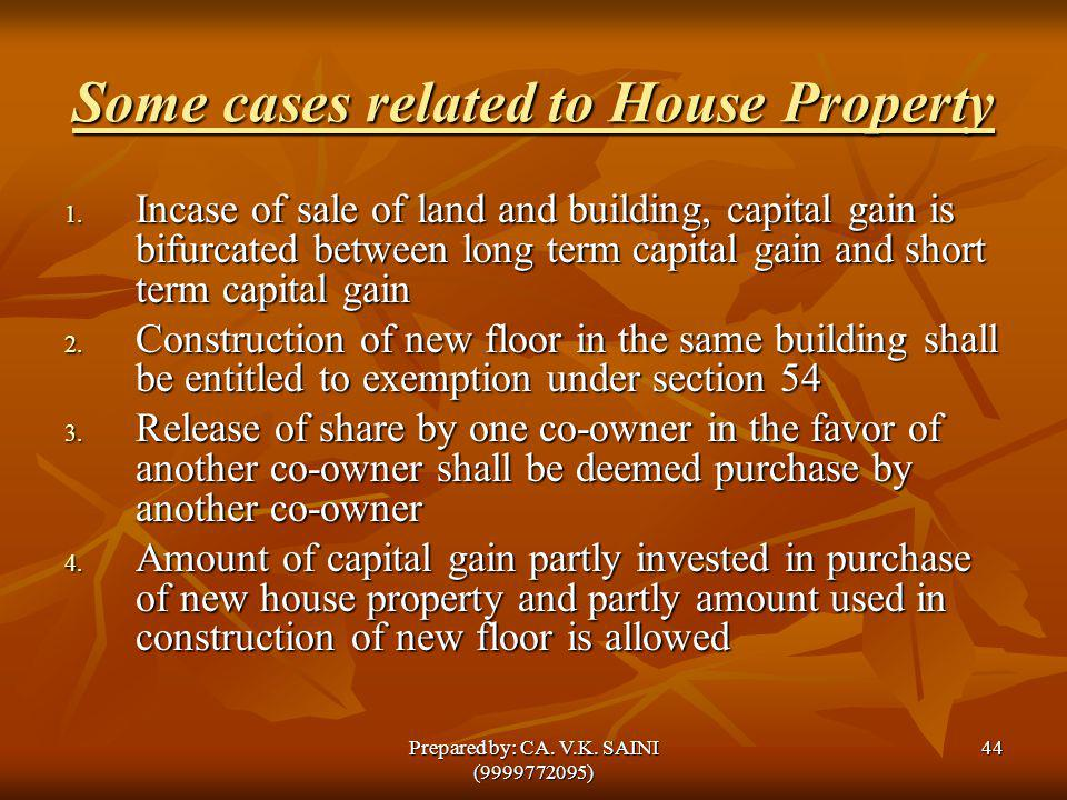 Some cases related to House Property