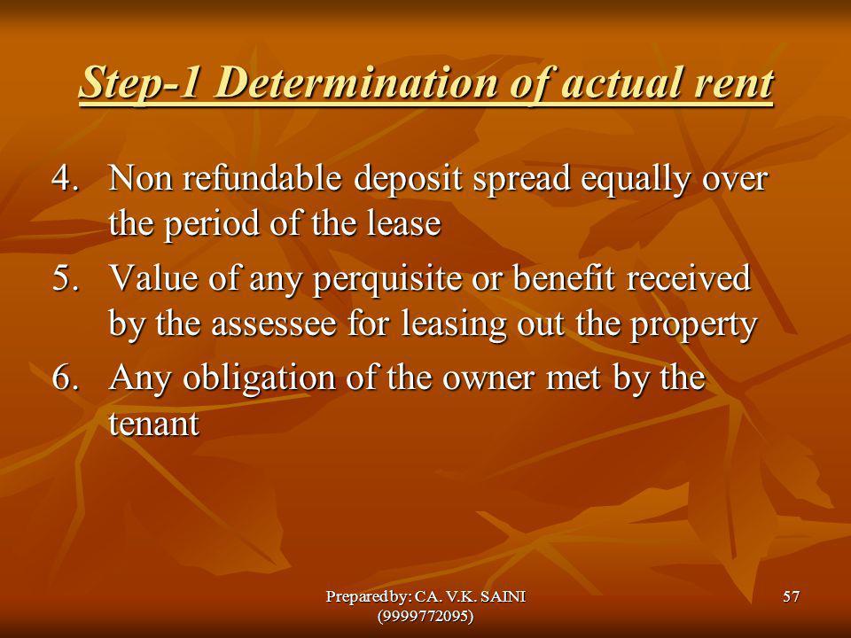 Step-1 Determination of actual rent