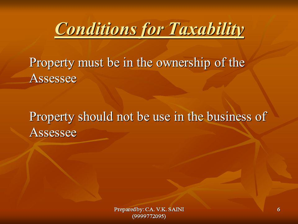 Conditions for Taxability