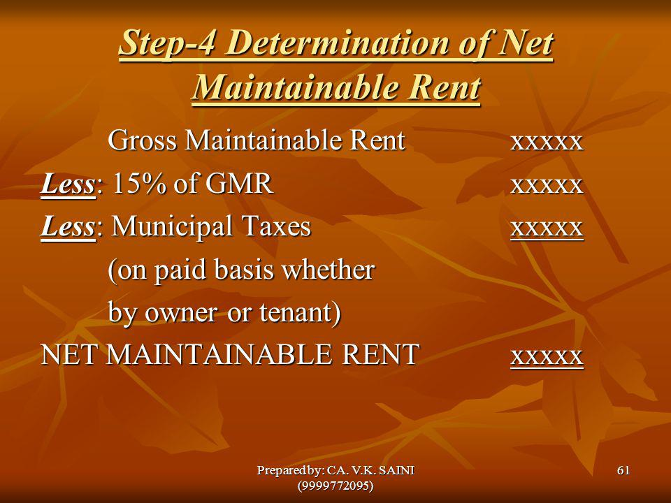 Step-4 Determination of Net Maintainable Rent