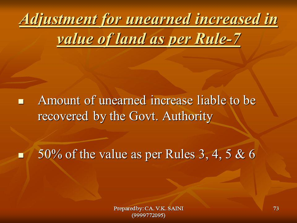 Adjustment for unearned increased in value of land as per Rule-7