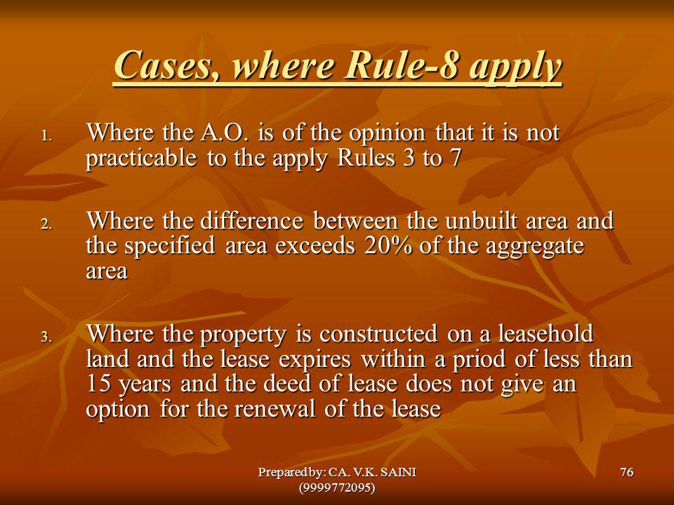 Cases, where Rule-8 apply