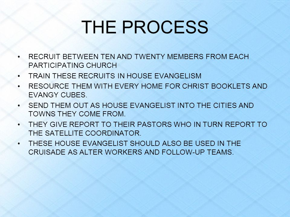 THE PROCESS RECRUIT BETWEEN TEN AND TWENTY MEMBERS FROM EACH PARTICIPATING CHURCH. TRAIN THESE RECRUITS IN HOUSE EVANGELISM.