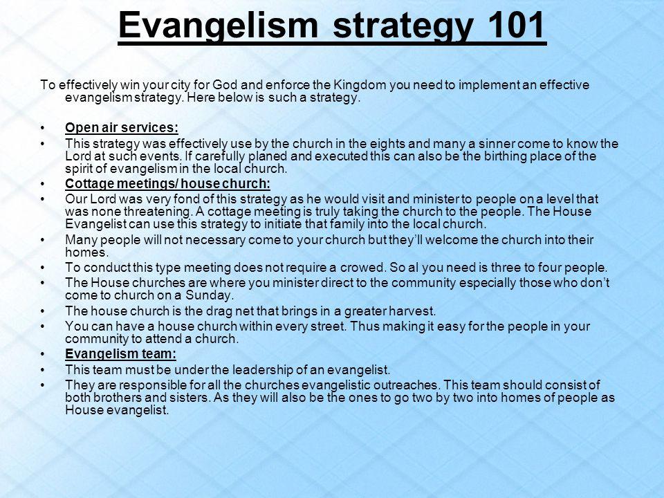 Evangelism strategy 101