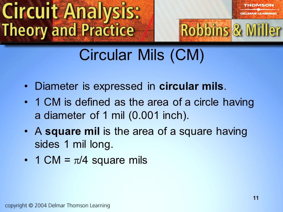 Circular Mils (CM) Diameter is expressed in circular mils.
