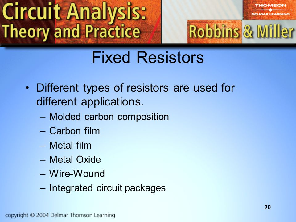 Fixed Resistors Different types of resistors are used for different applications. Molded carbon composition.