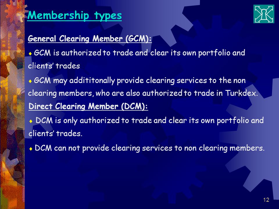 Membership types General Clearing Member (GCM):