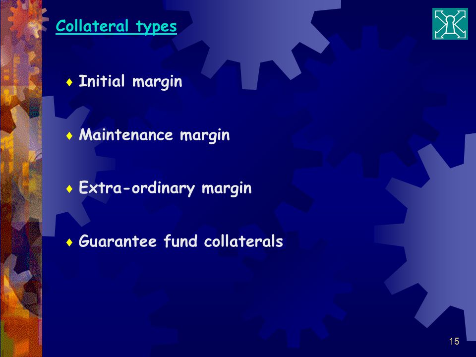 Collateral types Initial margin Maintenance margin Extra-ordinary margin Guarantee fund collaterals